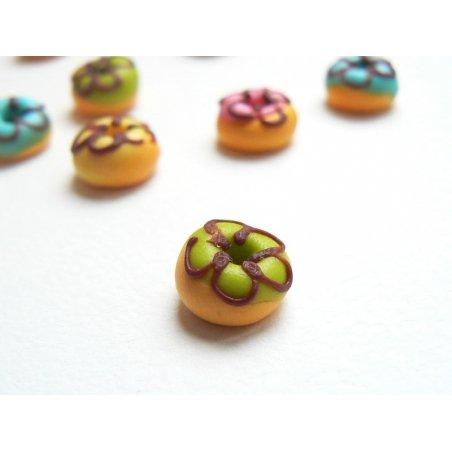 1 round miniature doughnut - green