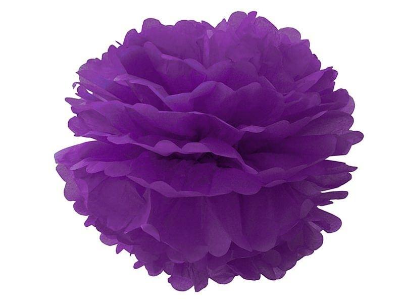 Pompon en papier de soie 35 cm - violet