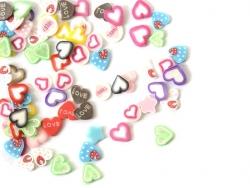 100 Polymer-Clay-Scheiben - Herzmix