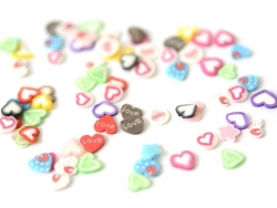 100 polymer clay canes - Heart mix