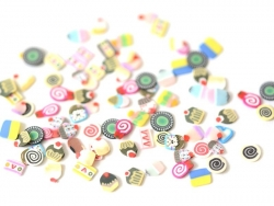 100 polymer clay cane slices - cake mix