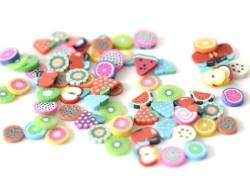 100 polymer clay cane slices - fruit mix