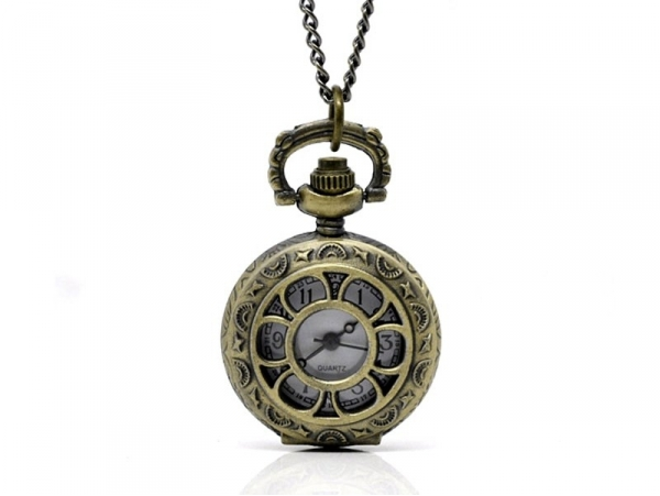 Vintage pocket watch with a flower design, bronze-coloured