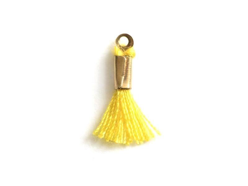 breloque mini-pompon - jaune  - 1