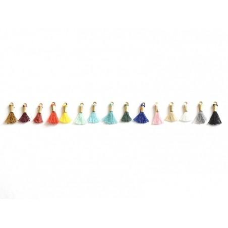 breloque mini-pompon - turquoise  - 3