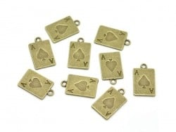 1 bronze-coloured playing card charm