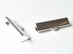 Ribbon crimp end for bias bindings, 22 mm - silver-coloured
