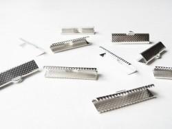 Ribbon crimp end for bias bindings, 22 mm - silver-coloured