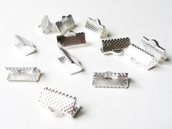 Fermoir griffe pour biais de tissu 16 mm - Argenté
