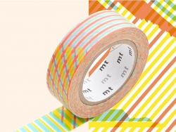 Patterned masking tape - Red crossed stripes