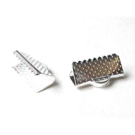 Ribbon crimp end for bias bindings, 16 mm - silver-coloured