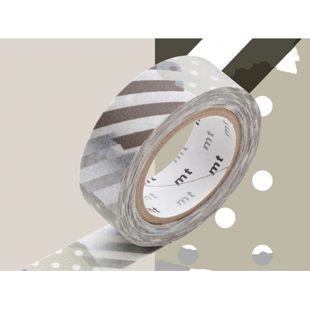 Masking tape with a pattern - Silver-coloured stripes and dots (G)