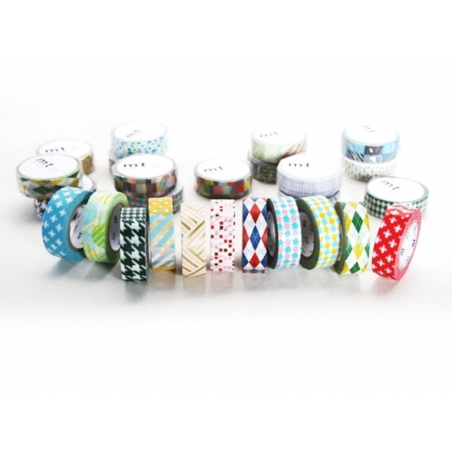 Masking tape with a pattern - Braided / angular, blue