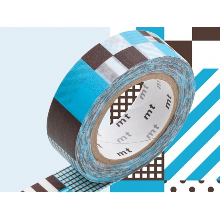 Masking tape with a pattern - Blue Mix