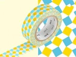 Masking Tape motif - carrés bleu et jaune