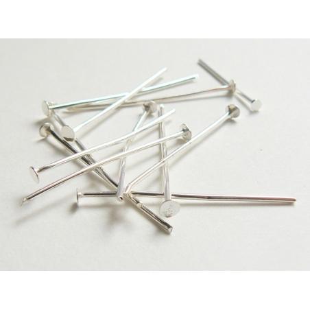 10 head pins - 22 mm - silver-coloured