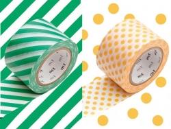 set 2 Masking tape motifs - rayé vert - pois abricot