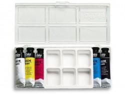 Boîte - 5 tubes de gouache primaire + palette Pébéo - 1