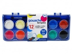 Paintbox with 12 moist gouache paints