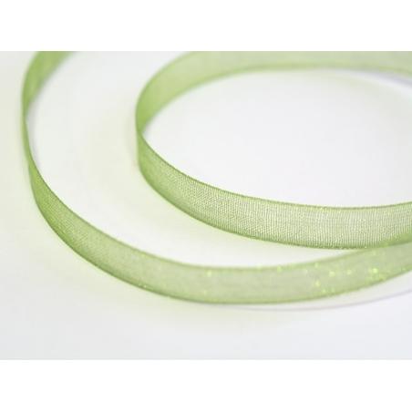 1 m of organza ribbon (6 mm) - Leaf green