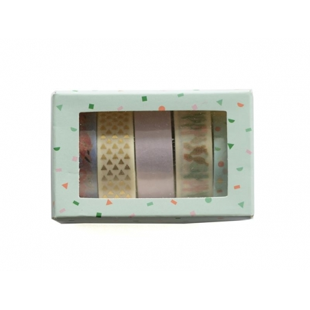 Set de 5 masking tapes - cactus / flamant rose