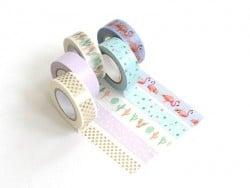 Set of 5 masking tapes - cactus/flamingo