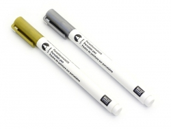 2 porcelain paint markers - silver and gold