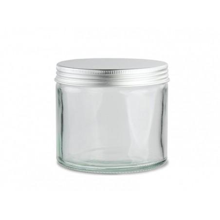 Bocal en verre transparent 250 ml avec couvercle en aluminium  - 1