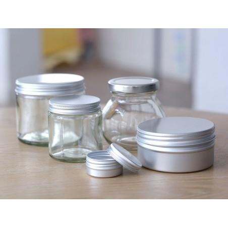 Bocal en verre transparent 250 ml avec couvercle en aluminium  - 2