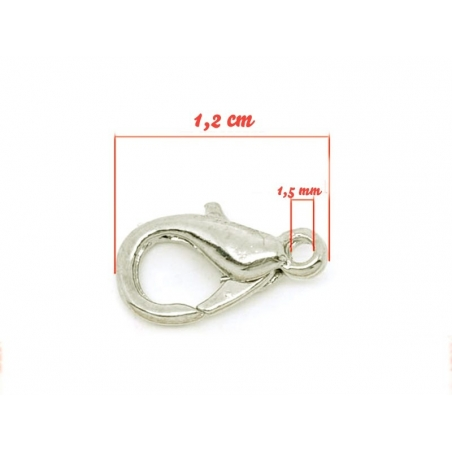 10 lobster clasps, 12 mm - light silver