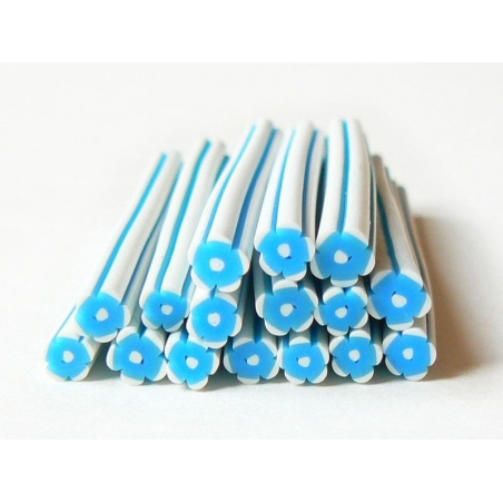 Flower cane - white and blue