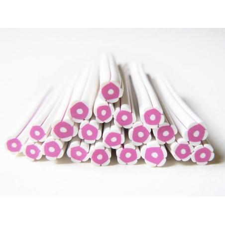 Acheter Cane fleur blanche et rose en pâte fimo - à découper en tranches - 0,99€ en ligne sur La Petite Epicerie - Loisirs c...