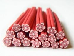 Cane fleur rouge clair en pâte polymère