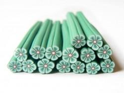 Cane fleur vert foncé en pâte polymère