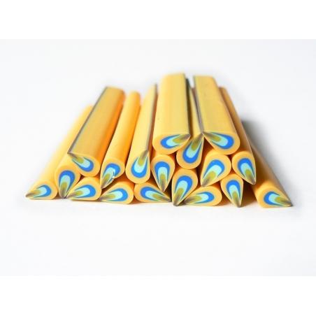 Cane pétale jaune et bleue en pâte fimo - à découper en tranches