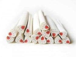 Cane coeur blanc à pois et fraise  - 1