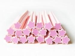 Cane étoile rose pastel- en pâte fimo - à trancher  - 1