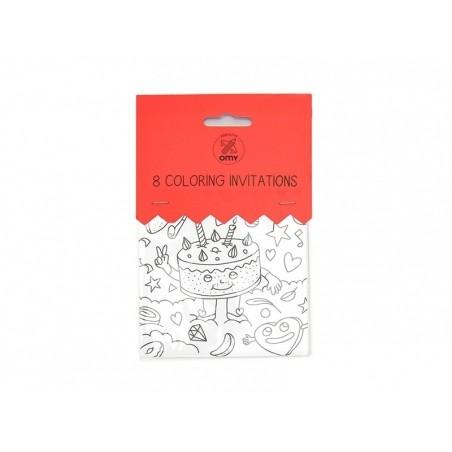 Acheter 8 invitations à colorier - 5,99€ en ligne sur La Petite Epicerie - 100% Loisirs créatifs