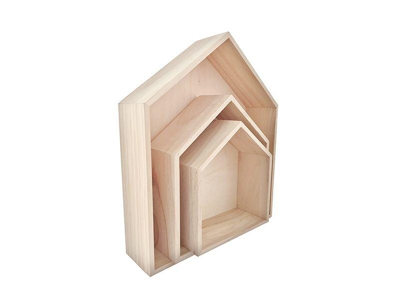 Acheter Lot de 3 étagères maisons en bois - 28,79€ en ligne sur La Petite Epicerie - 100% Loisirs créatifs