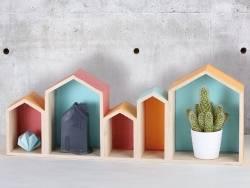 Acheter Bloc de 5 maisons en bois - 27,50€ en ligne sur La Petite Epicerie - 100% Loisirs créatifs