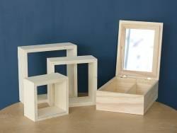 Lot de 3 étagères carrées