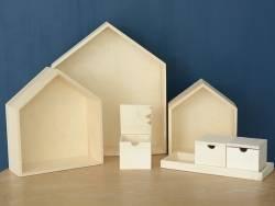 Lot de 3 étagères maisons en bois