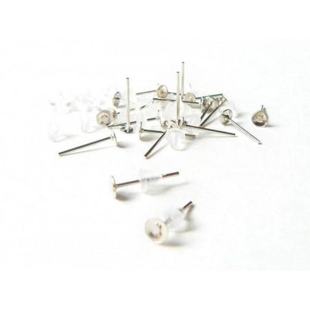 10 paires de puces d'oreilles argent clair - fermoir silicone  - 1