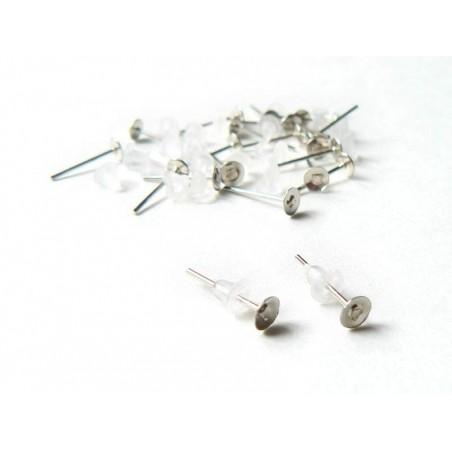 10 paires de puces d'oreilles argent clair - fermoir silicone  - 2