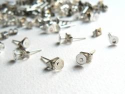 20 paires de puces d'oreilles - couleur argent foncé - fermoir silicone