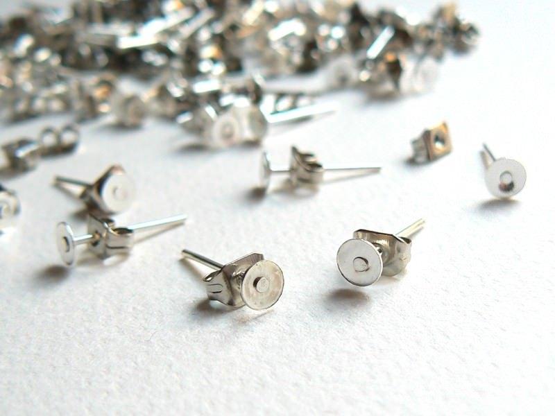 20 paires de puces d'oreilles - couleur argent foncé - fermoir silicone  - 1