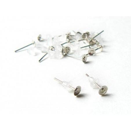 20 paires de puces d'oreilles - couleur argent foncé - fermoir silicone  - 2