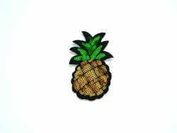 Iron-on patch - pineapple with glitter