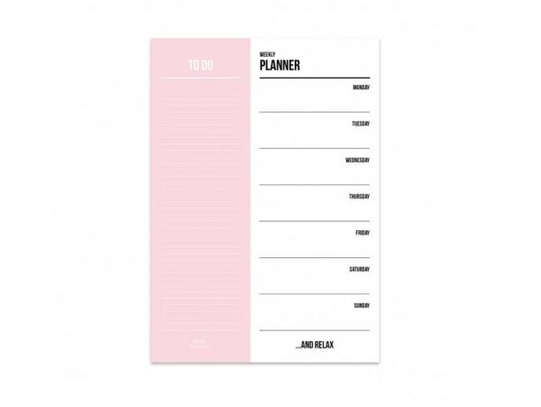 Bloc semainier et listes - A5 rose Studio Stationery - 1