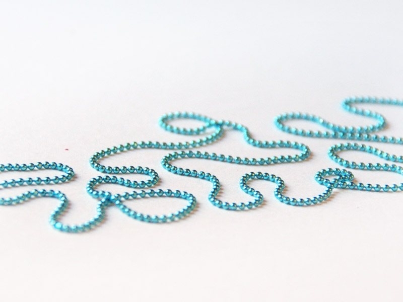 1m chaine bille turquoise 1,5 mm